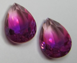 Glass Drop 13 x 18 mm Unfoiled Dual Coated Purple/Pink (per 1)