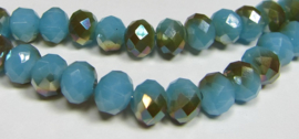 Faceted Rondelles 6 x 8 mm Blue Opal Copper Plated F724 (per 71 beads)