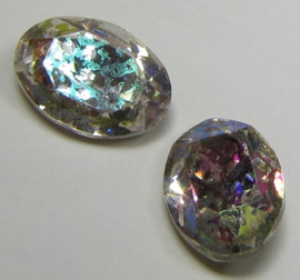 Glass Oval 10 x 14 mm Crystal Rainbow Patina (per 1)