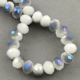 Faceted Rondelles 2 x 3 mm Milky White Blue Plated F876 (per 147 beads)