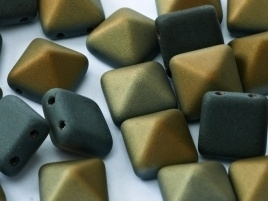 Pyramid Beads 2-Hole 12 mm Jet Valentinite Matted (per 5)