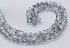 Faceted Rondelles 3 x 4 mm Half Plated Purple F912 (per 148 beads)