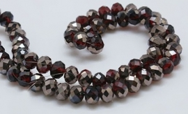 Faceted Rondelles 2 x 3 mm Amethyst Silver Plated F922 (per 148 beads)