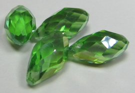 Faceted Drops 12 x 6 mm Green AB (per 4 beads)
