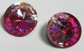 Glass Rivoli 12 mm Rainbow Hot Pink (per 1)