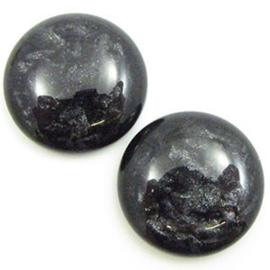 Polaris Cabochon Munt 20 mm Jais Black (per stuk)