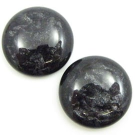 Polaris Cabochon Coin 20 mm Jais Black (per 1)