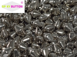 Spiky Button 4,5 x 6,5 mm Jet Argentic Full (per 25)