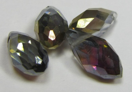 Faceted Drops 12 x 6 mm Half Gold Purple Plated (per 4 beads)