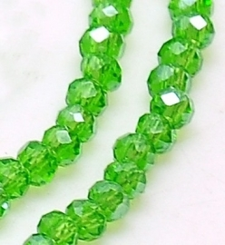 Faceted Rondelles 2 x 2,5 mm Green AB F953 (per 198 beads)