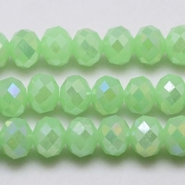 Faceted Rondelles 2 x 3 mm Luster Milky Light Green F442 (per 138 beads)