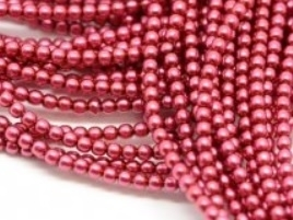Glass Pearls Bright Cranberry 2 mm *45 (36 cm strand)