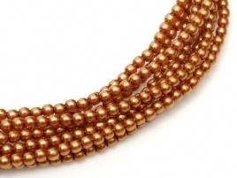 Glass Pearls Copper 2 mm *52 (36 cm strand)