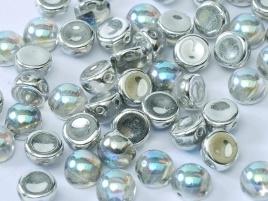 2-Hole Cabochon 6 mm Crystal Silver Rainbow (per 8)