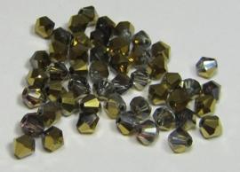 Glass Bicones 4 mm Gray Half Gold Plated (per 50)