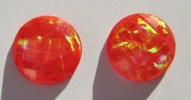 Cabochon Resin Facet Opaal Munt 18 mm Rood G291-D (per 2)