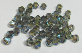 Glass Bicones 4 mm Crystal Green Plated (per 50)