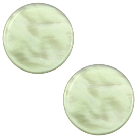 Polaris Cabochon Munt Plat 12 mm Parelmoer Vintage Chrysolite Green (per stuk)
