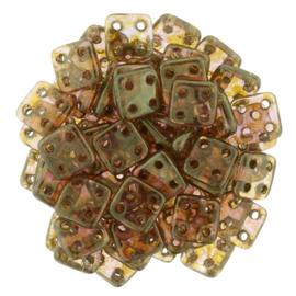 CzechMates QuadraTiles Luster Rose/Gold Topaz (per 5 gram)