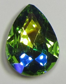 Glass Drop 20 x 30 mm Peridot Blue Plated (per 1)