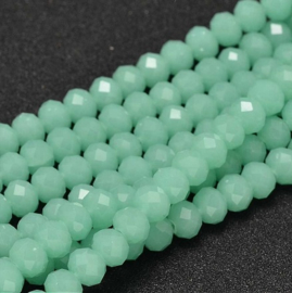 Faceted Rondelles 6 x 8 mm Dark Mint Opal F1233 (per 70 beads)