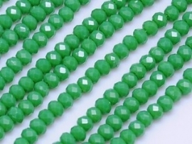 Faceted Rondelles 2 x 3 mm Opaque Green F455 (per 130 beads)