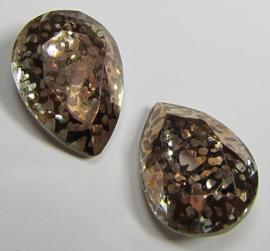 Glass Drop 13 x 18 mm Crystal Copper Patina (per 1)