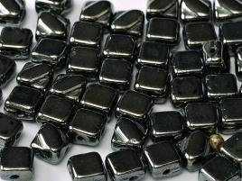 Silky Beads 2-Hole 6 x 6 mm Jet Hematite (per 18)