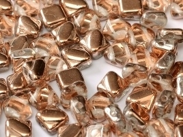 Silky Beads 2-Hole 6 x 6 mm Crystal Capri Gold (per 16)
