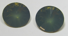 Resin Rivoli 14 mm Dark Army Green Opal (per 2)