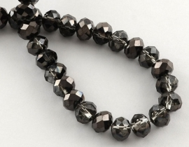 Faceted Rondelles 2 x 2,5 mm Half Plated Black F898 (per 198 beads)