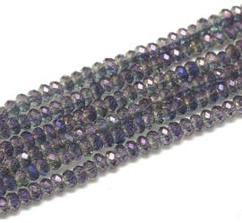 Facet Rondel 1,5 x 2 mm Half Plated Purple F1388 (per 198 kralen)
