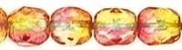 Fire Polished 4 mm Dual Coated Fuschia/Lemon (per 50)