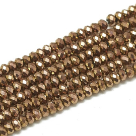 Faceted Rondelles 1,5 x 2 mm Metallic Bronze Plated F1334 (per 198 beads)