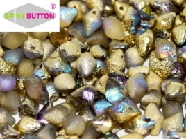 Spiky Button 4,5 x 6,5 mm Crystal Etched Golden Rainbow (per 25)