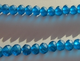 Faceted Rondelles 6 x 8 mm Matted Petrol F340 (per 70 beads)