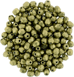Fire Polished 3 mm Saturated Metallic Golden Lime (per 75)
