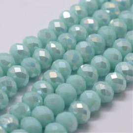 Faceted Rondelles 6 x 8 mm Opaque Aquamarine AB F1282 (per 70 beads)