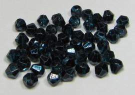 Glas Bicones 4 mm Coated Dark Teal Petrol (per 50)