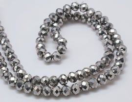 Faceted Rondelles 2 x 3 mm Silver Plated F924 (per 148 beads)