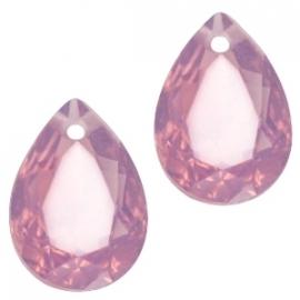 Resin Drop Pendant 10 x 14 mm Cyclamen Rose Opal (per 2)