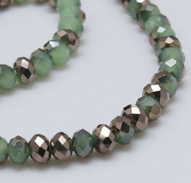 Faceted Rondelles 2 x 3 mm Sea Green Copper Plated F761 (per 148 beads)