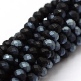 Faceted Rondelles 2 x 2,5 mm Frosted Black Grey Plated F1345 (per 198 beads)