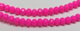 Faceted Rondelles 3 x 4 mm Luster Opaque Neon Hot Pink F758 (per 198 beads)