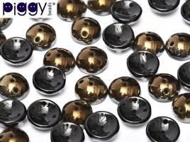 Piggy Beads 4 x 8 mm Jet Valentinite (per 18)