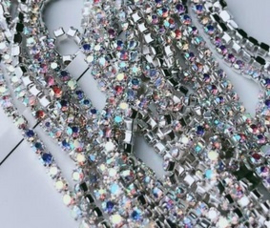 Cup Chain SS4 1,5 mm Silver - Crystal AB (per 50 cm)