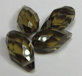 Faceted Drops 12 x 6 mm Smoke Quartz (per 4 beads)