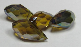 Faceted Drops 12 x 6 mm Topaz Green Plated (per 4 beads)