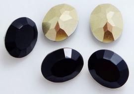 Resin Oval 10 x 14 mm Black (per 3)