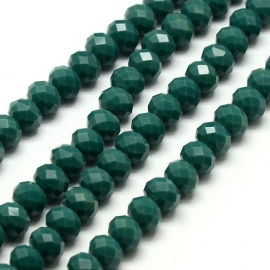 Faceted Rondelles 6 x 8 mm Opaque Dark Green Teal F741 (per 66 beads)